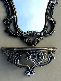 Wandspiegel Schwarz Silber Barock mit Wandkonsole Antik 50X76 Spiegelablage