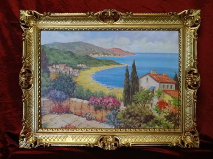 Gemälde Antik Haus am See Blume Reblikat Bild mit Rahmen 90X70 BILDERRAHMEN GOLD