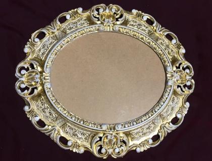 Bilderrahmen Barock Gold-Weiß Oval 45X37 Antik Fotorahmen Bilderrahmen mit Glas - Vorschau 4