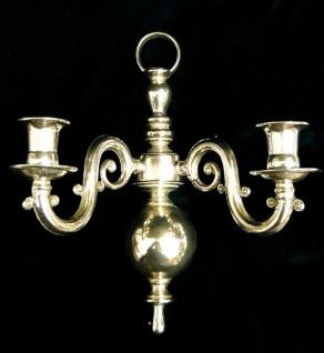 2x Wandkerzenhalter, Kerzenleuchter Klavierleuchter Messing Antik Hochpoliert - Vorschau 2
