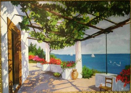 Gemälde Antik Haus am See Blume Reblikat Bild ohne Rahmen 50X70