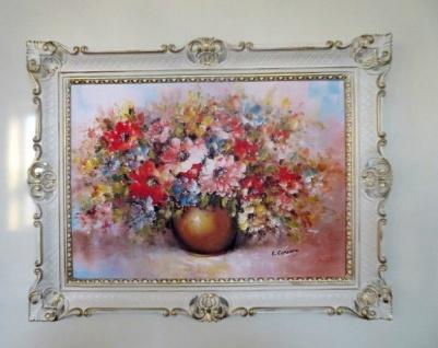 Gemälde Gerahmte Blumen Bild 90x70 Wilde Blumen mit Vase Gold Bild mit Rahmen 98