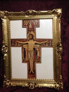 Jesus am Kreuz Wandbild Antik 90x70 Christliche Heiligen Bild Gemälde Jesus Bild