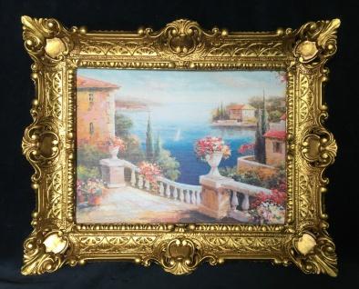 Landschaftsbild Haus am See Wandbild mit Rahmen 57x47 Kunstdruck Blumenstrauß