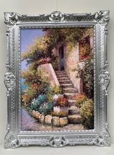 Bild mit Rahmen Blumen Haus 90X70 Ein Dorf Italien Gemälde Wandbild Barock Bild