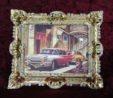 Auto Cuba Rot Bild Rahmen Gold-Weiß Wandbild 45x38 Oldtimer Classic Cuban Auto