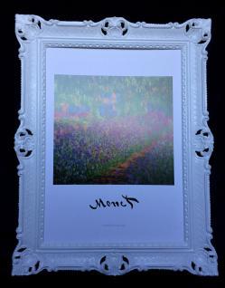 Bild Claude Monet Garden Landschafts Blumen Bilder mit Rahmen Weiß 90x70cm N403