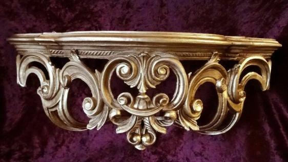 Regal Wandkonsole Gold BAROCK SpiegelKONSOLE 50x20x24 ANTIK Ornamente Cp72
