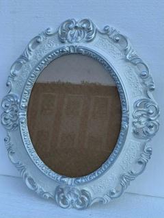 Bilderrahmen Barock Weiß-Silber Oval 45X37 Antik Fotorahmen Bilderrahmen + Glas