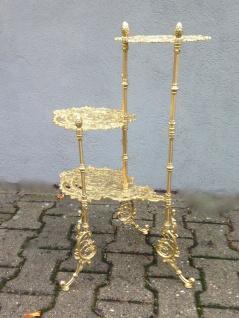 Kunst französischer Messing-Beistelltisch Pflanzenständer 3-stufig Hirsch motiv