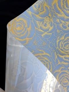 Tischschutz Folie 2mm Meterware Tischdecke Transparent Silber 80-100cm Breite