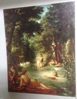 Frauen in Fluss Badende Frauen Historische Bild 50x40 Kunstdruck auf MDF platte