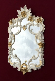 Wandspiegel Weiß-Gold Barock Antik rokoko 60X35 c511 Flurspiegel Elfenbeinweiß