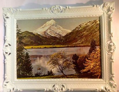 Landschaftsbild Berge See Meer Bäume 90x70 Wohnzimmerbild Gerahmte Gemälde