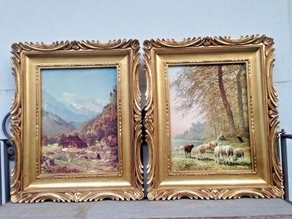 2 x Gemälde Landschaft Schaf Schäfer 33x28 Antik BAROCK Bild Rahmen LEINWAND