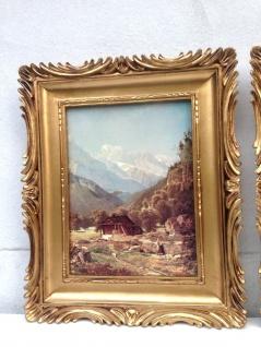 Bild mit Rahmen Bauernhof Gemälde Landschaft Natur Bauer 33x28 Bilderrahmen Gold