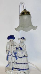 TISCHLAMPE NACHTISCHLAMPE porzellan, 44x11x16cm, deko, Mann und Frau weiß-blau