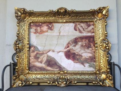 Adamshand Leonardo Da Vinci Engel 56x46 Gotteshand Kunstdruck Bild Wandbild