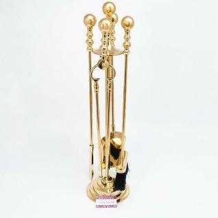 Kaminbesteck Kamingarnitur 73cm Messing Massiv Gold Kaminset Ofenbesteck Set - Vorschau 3