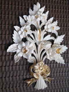 Wanddeko Wandbehang Deko 38x28cm Weiß-Gold Spiegel Deko Blumen C1530 ivory