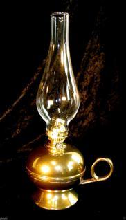 Öllampe Messing Petroleumlampe Öllampe Glas Glaszylinder Antik Still Höhe 34 cm