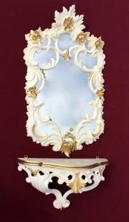 Wandspiegel mit Konsole Weiß-Gold Barock Antik rokoko 60X35 c511 Flurspiegel