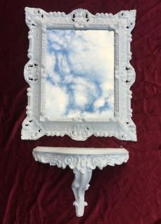 Wandspiegel mit Konsole BAROCK Spiegel Weiß Hochglanz 45x37 Spiegel mit Ablage