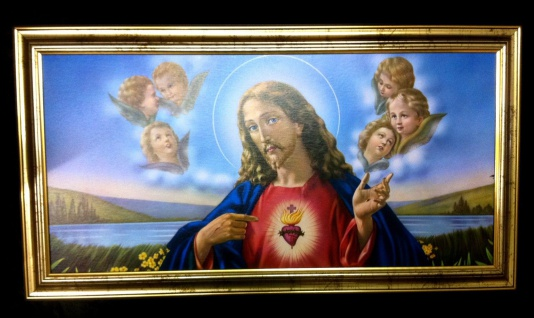 Gerahmte Gemälde Bilder Rahmen 77x42 Jesus Christus Ikonen