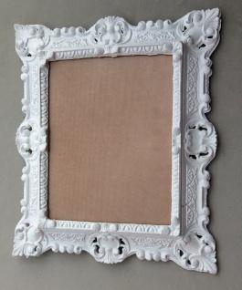 Bilderrahmen Barock Weiß m. Glas 45x38 jugendstill Antik Rechteckig Fotorahmen