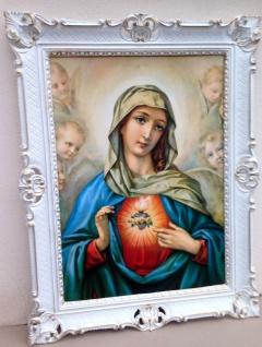 Gemälde Heiligenbild Maria Muttergottes 90cm Wandbild Gerahmte Bild HeiligeMaria