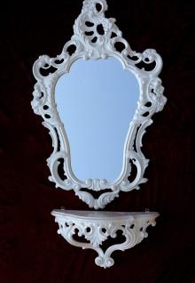 Wandkonsole Weiß mit Wandspiegel Barock 50X76 Spiegelablage Kommode Retro Repro