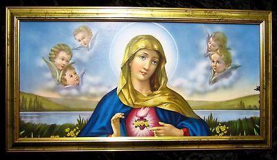 Gerahmte Gemälde Bilder Rahmen 77x42 MARIA Ikonen Christliche Bild mit Rahmen