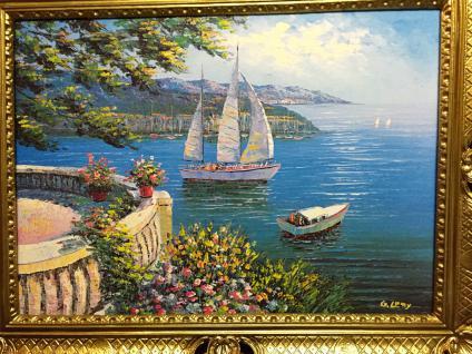 Gemälde Antik Haus am See Blume Bild Ohne Rahmen Gold 50X70 Italien Segelboot 11