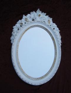 Wandspiegel Antik Oval Weiß Gold Badspiegel Spiegel 51X37 Shabby Barock c496