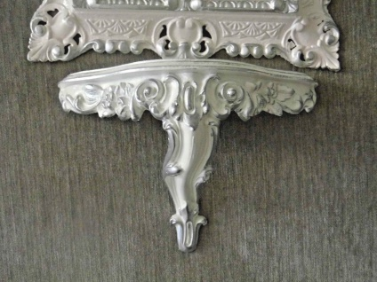 Wandspiegel mit Wandkonsole Weiß Silber Barock 45x37 Spiegel mit Konsole Vintage - Vorschau 2