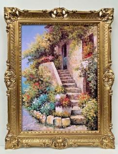 Bild mit Rahmen Blumen Steinhaus 90cm Dorf Italien Gemälde Wandbild Barock Antik