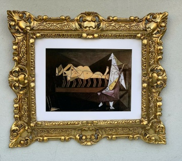 Gerahmte Barock Bild Picasso Aubade Kunstdruck Poster Gold Rahmen Wandbild 45x37