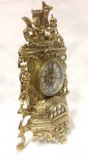 Kaminuhr Messing Tischuhr Antik Barock Gold 42cm Massiv Neu - Vorschau 5