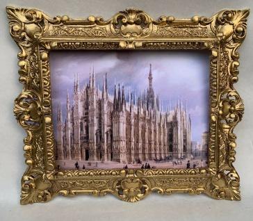 Gerahmte Barock Bild Städte Mailänder Dom Wandbild 45x37 Bild mit Rahmen Italien