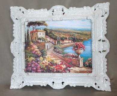 Gemälde Antik Haus am See Blume Italien Bild mit Rahmen 45X38 BILDERRAHMEN GOLD