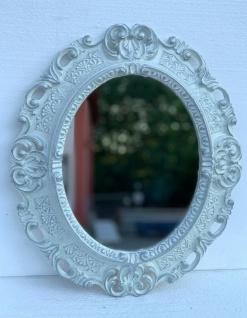 Wandspiegel Weiß Silber Oval Barock Antik 45x38 Badspiegel Prunk Rokoko Repro