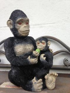 Affenfigur Gorilla mit Baby Figur Deko Balkon15x9cm skulptur Affe Statue Afrika