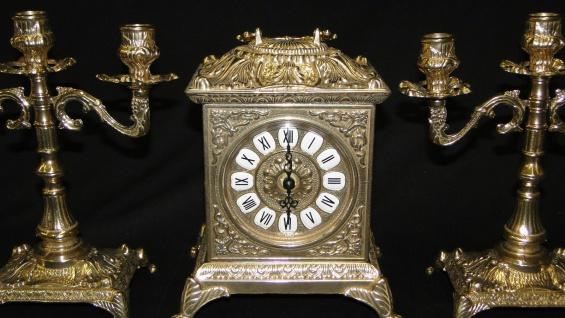 Kaminuhr Set Messing mit Kerzenständer Barock Tischuhr*Antik*Uhr Kaminset Uhr - Vorschau 2