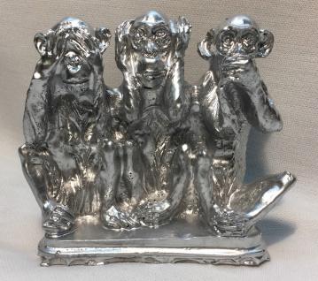 3 Affen figuren Dreiaffen12 x11x4 Silber Tiere nicht sehen hören sagen figur