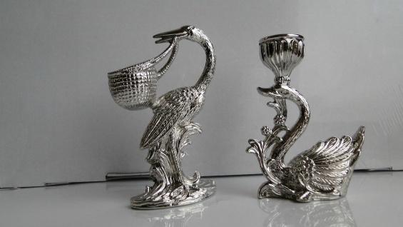 2 Kerzenständer Silber Kerzenleuchter-halter Silber vernickelt Schwan-Storch