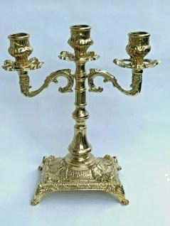 Kerzenständer Messing Barock 3 Flammig Kerzenhalter Antik Kerzenleuchter 23 cm - Vorschau 2