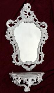 Set Wandspiegel mit WANDKONSOLE Weiß-Silber Spiegel konsoleAblage Antik BAROCK