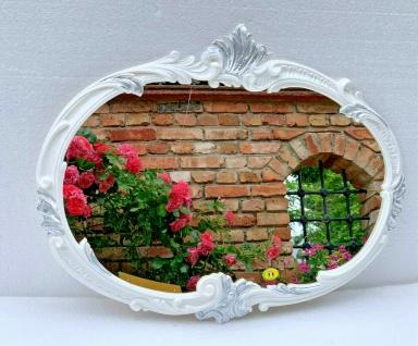 Wandspiegel Barock Oval Weiß Silber Antik 52x42 Badspiegel Vintage Retro Prunk