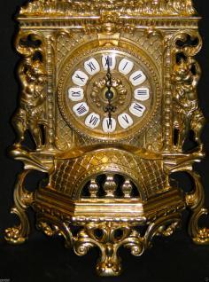 Kaminuhr MESSING TISCHUHR ANTIK BAROCK GOLD 42CM MASSIV NEU - Vorschau 2