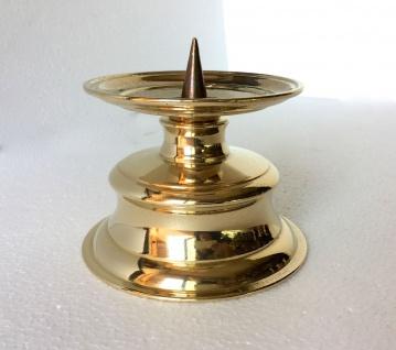 Kerzenhalter MESSING poliert KERZENLEUCHTER GOLD 12, 5 cm MASSIV Kandelaber